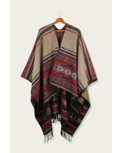 Fringed Kindreds Wool Poncho cape wrap
