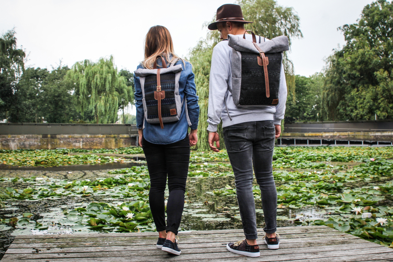bohemian roll top backpack roll top bag Kindred Spirits