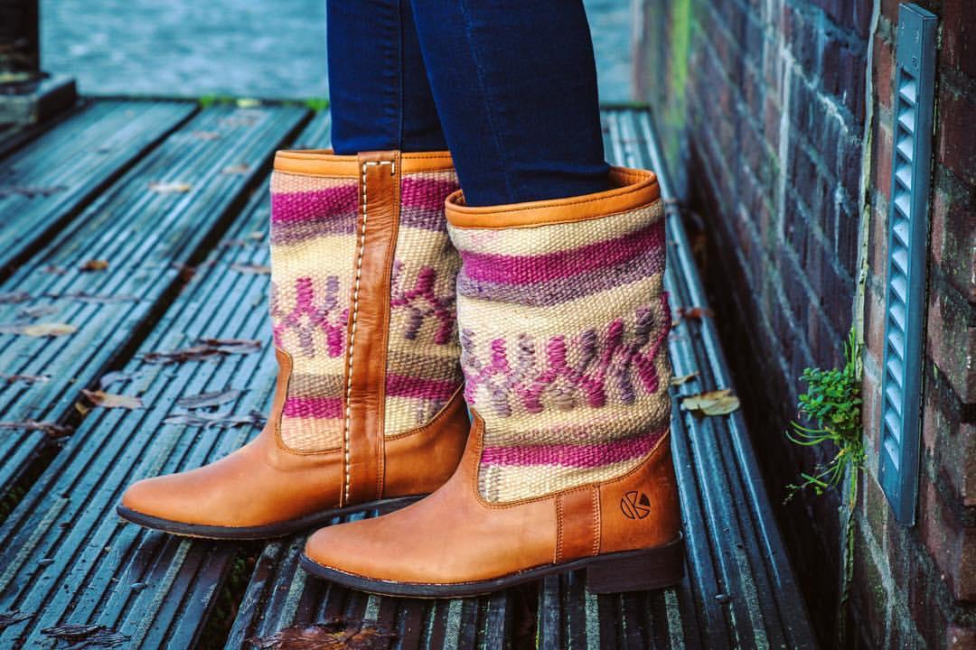 leather kilim boots