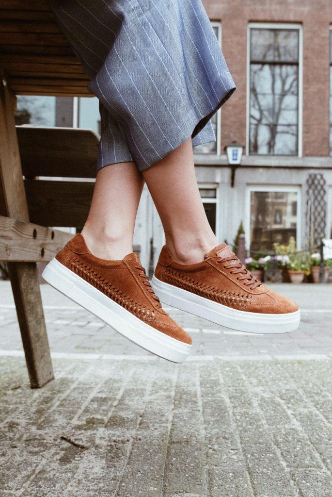 charming brown suede sneakers, handmade