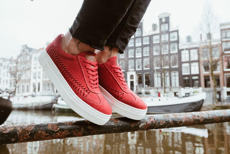 Red suede sneakers, summer footwear