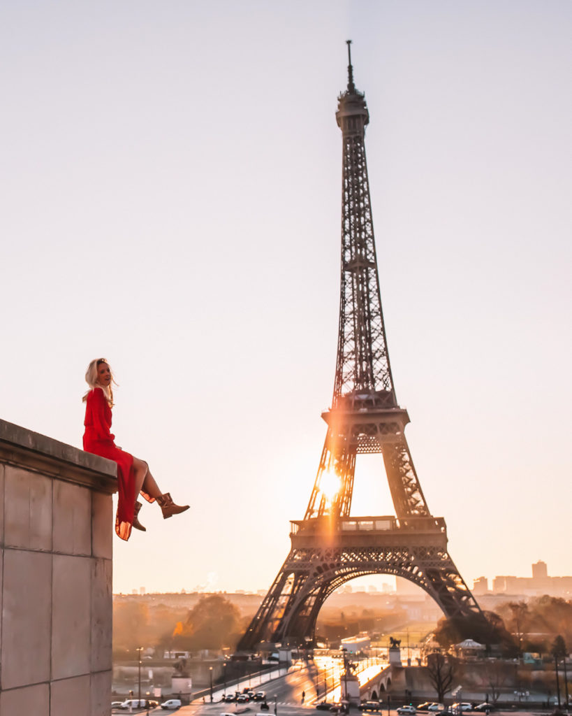 Girl admires Eiffel Tower in her vintage kilim rug boots