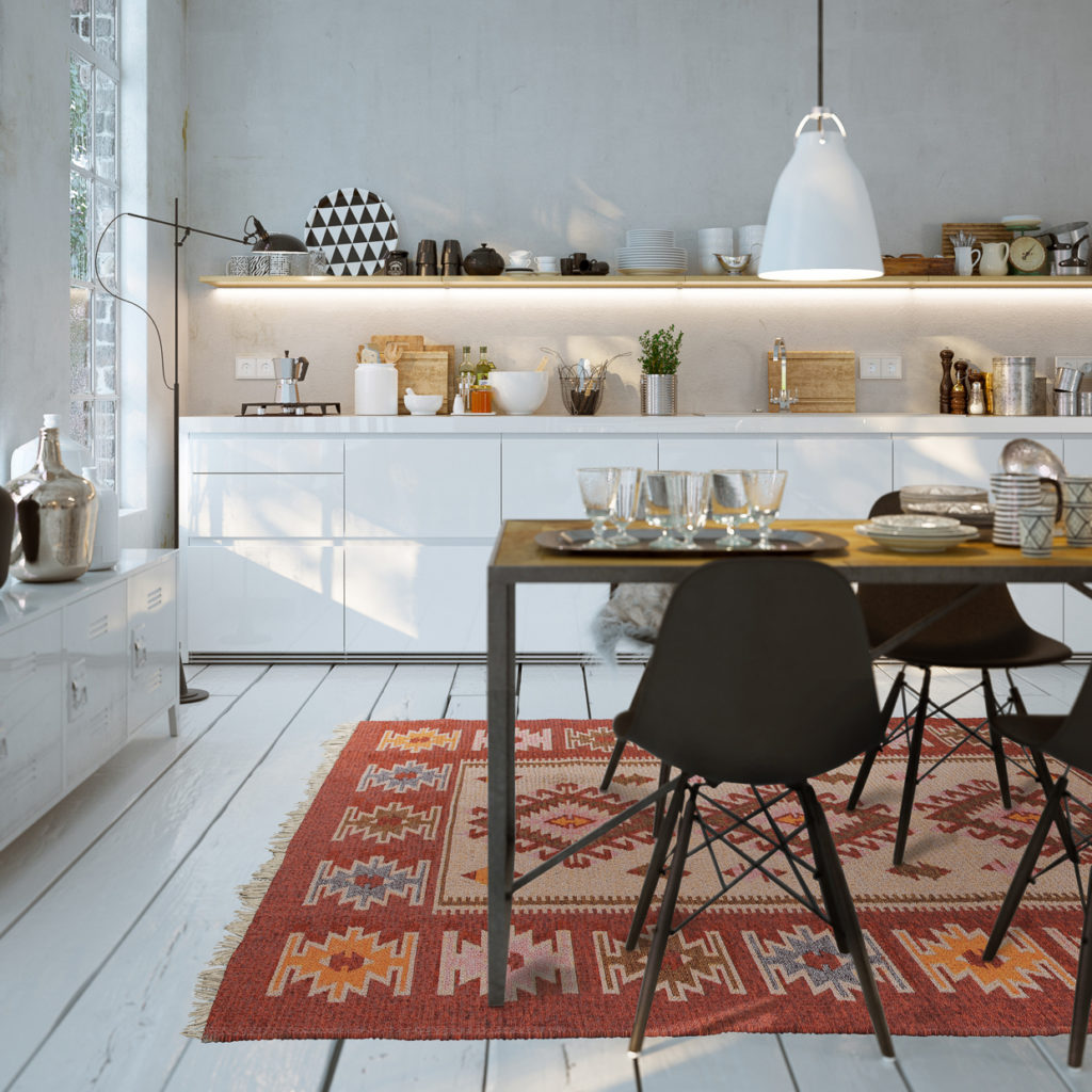 The perfect touch to any kitchen or dining room, our vintage rugs are unique and handwoven