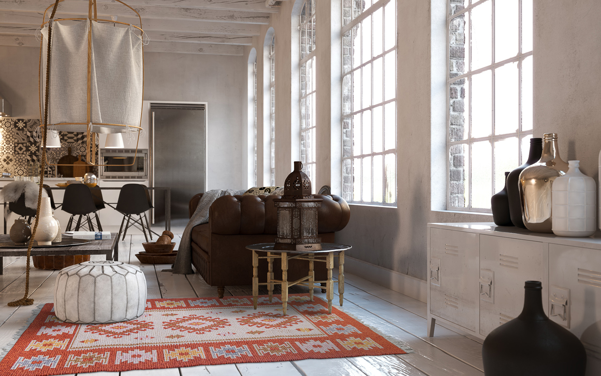 Accent your loft with our large reversible kilim rugs