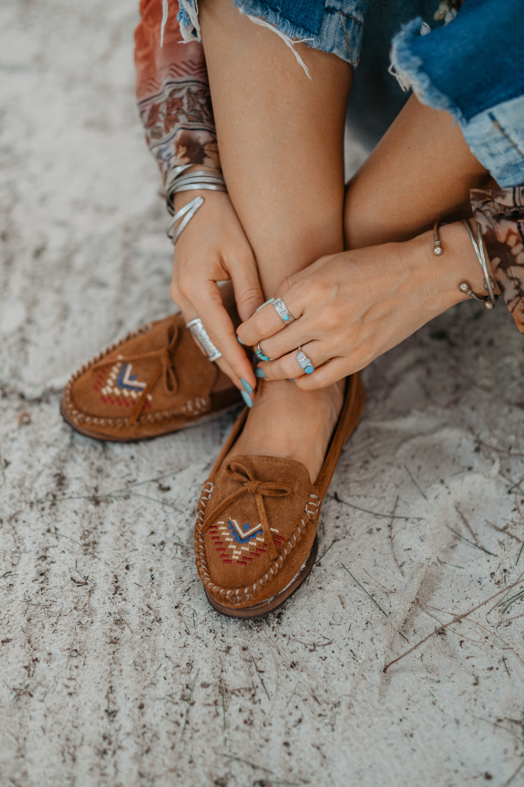 suede embroidered moccasins