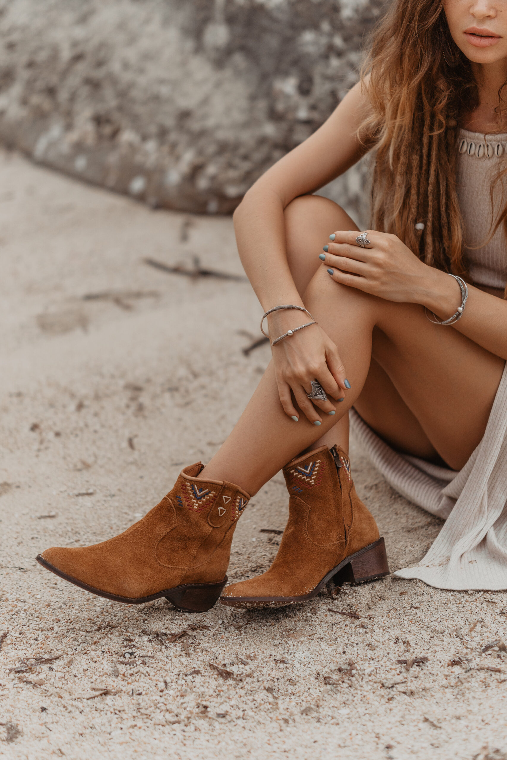 embroidered western ankle boots